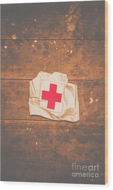 Ww2 Nurse Cap Lying On Wooden Floor Wood Print