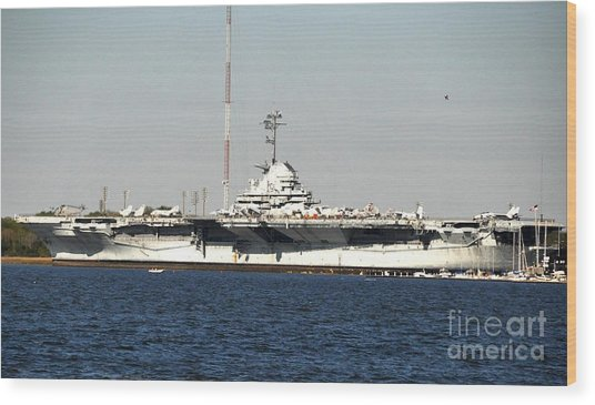 Wwii Aircraft Carrier Uss Yorktown Wood Print