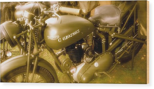 Wwii Triumph Despatch Rider Motorcycle Wood Print