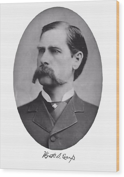 Wyatt Earp Autographed Wood Print