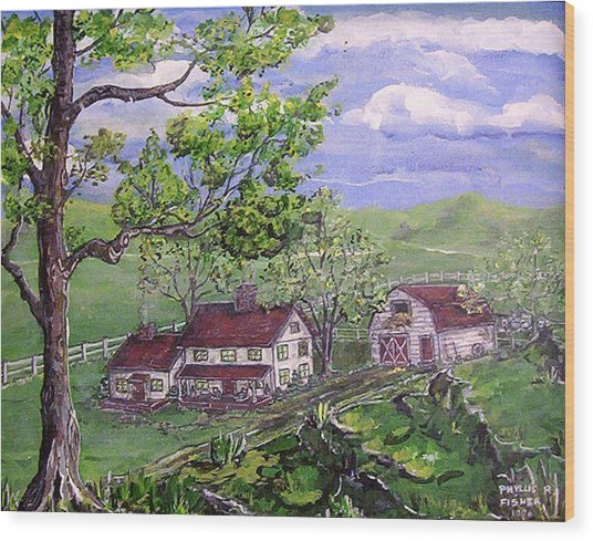 Wyoming Homestead Wood Print by Phyllis Mae Richardson Fisher