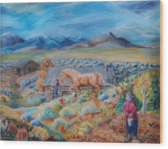 Wyoming Ranch Scene Wood Print