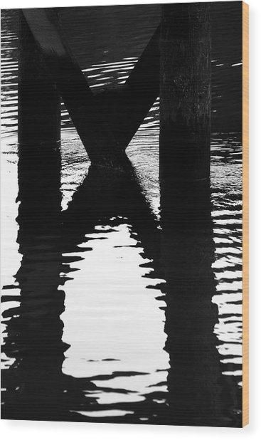 X Marks Wood Print by Barbara  White