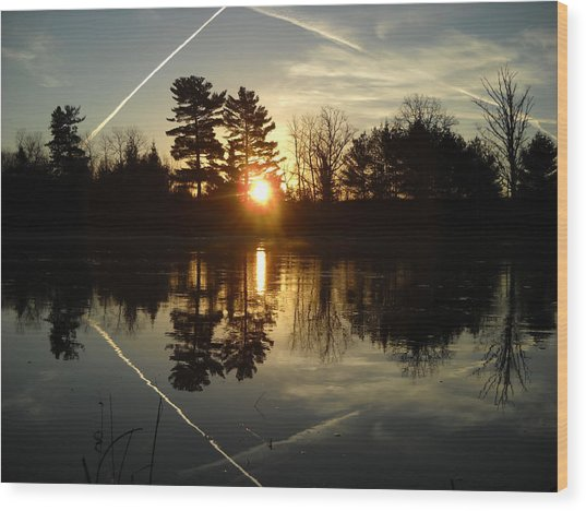 X Marks The Spot Sunrise Reflection Wood Print