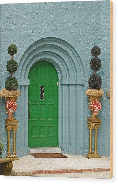 Xmas Door Wood Print