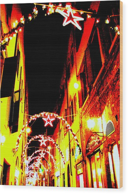 X'mas In Florence Wood Print