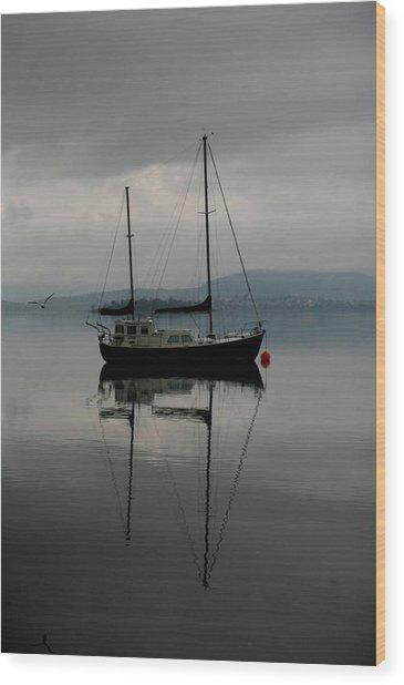 Yacht At Silent Moorings Wood Print