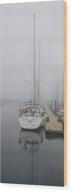 Yacht Doesn't Go In The Fog Wood Print
