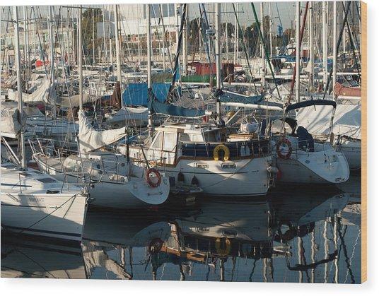 Yachts In The Lisboa Dock  Wood Print by Maryia Isachenka