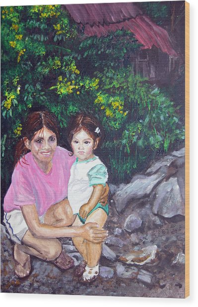 Yamileth And Daughter Wood Print by Sarah Hornsby