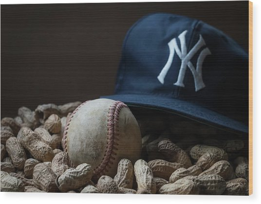 Yankee Cap Baseball And Peanuts Wood Print