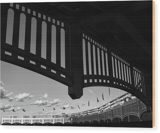 Yankee Stadium Facade - B And W Wood Print
