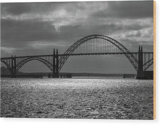 Yaquina Bay Bridge Black And White Wood Print
