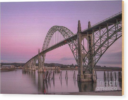 Yaquina Bay Bridge In Blue Light Wood Print