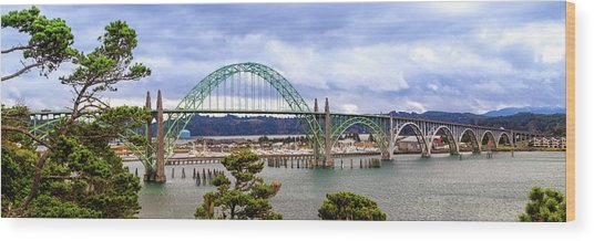 Yaquina Bay Bridge Panorama Wood Print