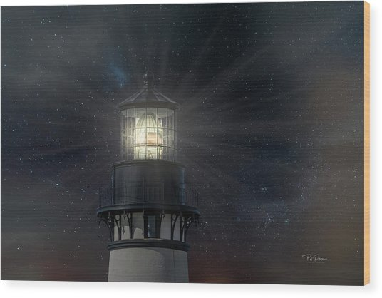 Yaquina Head At Night Wood Print