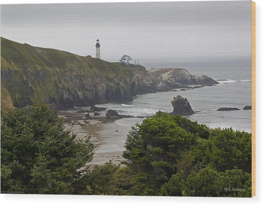 Yaquina Head Lighthouse View Wood Print