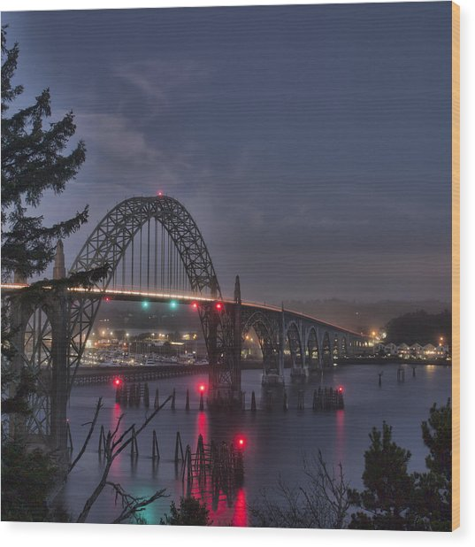 Yaquina Night Crossing Wood Print