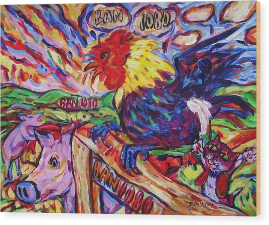 Yeah Year Of Rooster Wood Print
