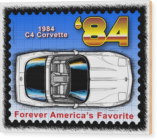 Year-by-year 1984 Corvette Postage Stamp Wood Print