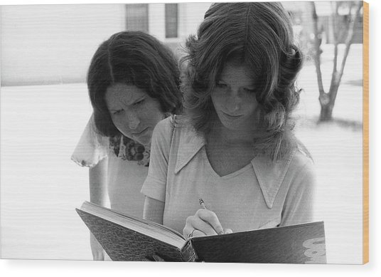 Yearbook Signing, 1972, Part 1 Wood Print