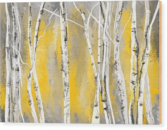 Yellow And Gray Birch Trees Wood Print