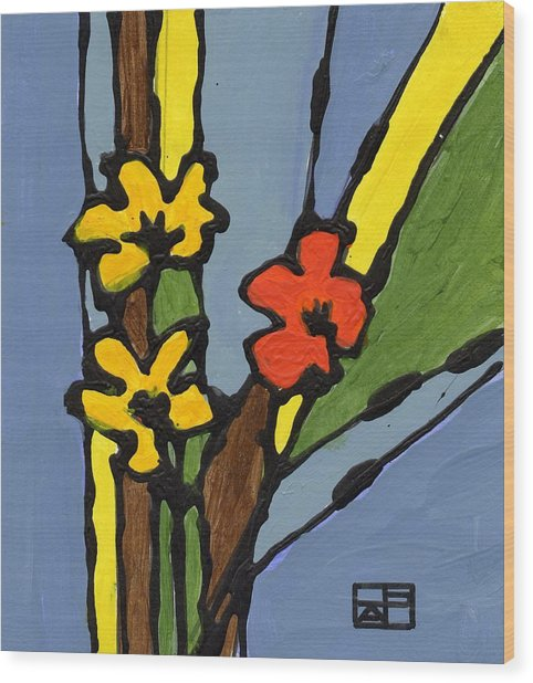 Yellow And  Red Flower Wood Print by Helen Pisarek