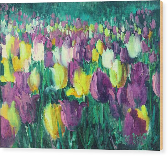Yellow And Violet Tulips Wood Print by Sally Seago