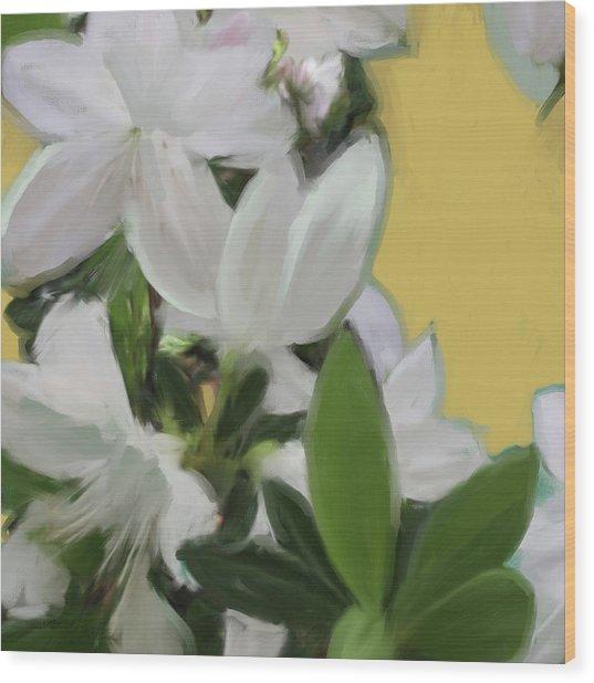 Yellow And White Flower Art 1  Wood Print