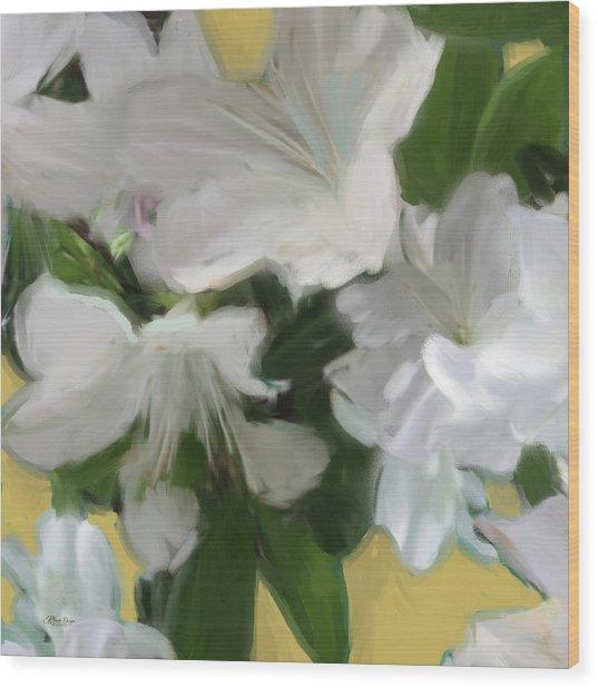 Yellow And White Flower Art 2 Wood Print