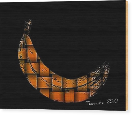 Yellow Banana Weave Wood Print by Teodoro De La Santa