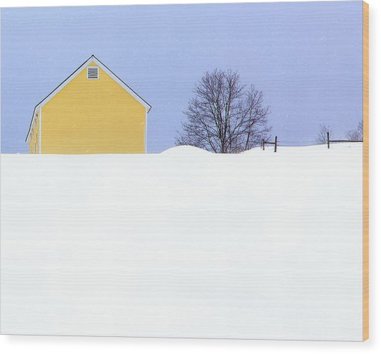 Yellow Barn In Snow Wood Print