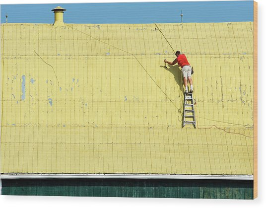 Yellow Barn Roof Workers-7 Wood Print