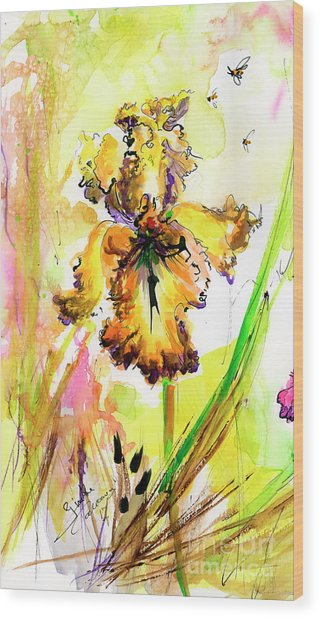 Yellow Bearded Iris And Bees Wood Print