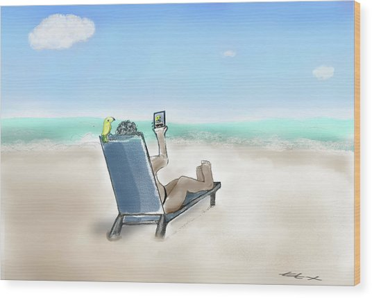 Yellow Bird Beach Selfie Wood Print
