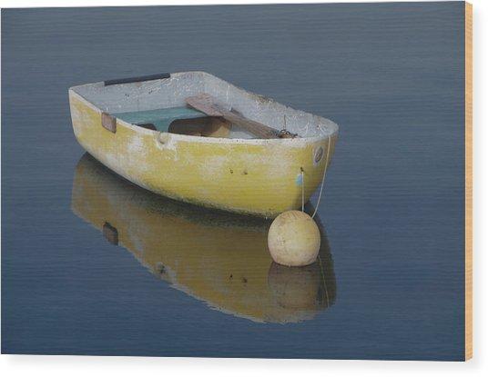 Yellow Rowboat Wood Print