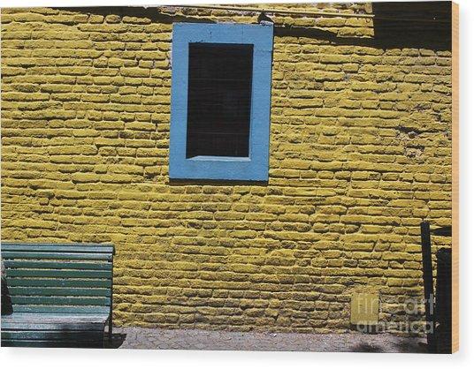 Yellow Brick Window Wood Print