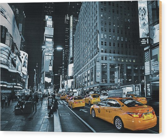 Yellow Broadway At Night - Nyc Wood Print