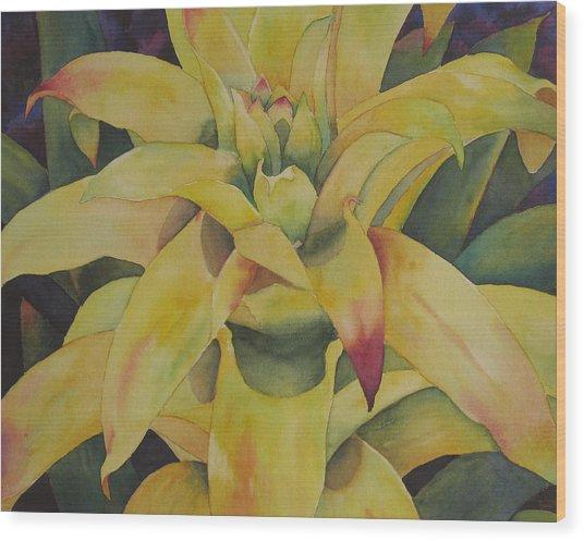Yellow Bromeliad Wood Print