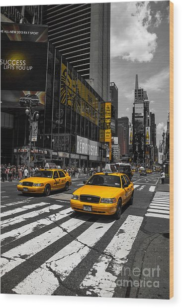 Yellow Cabs Cruisin On The Times Square  Wood Print