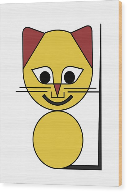 Yellow Cat Wood Print by Asbjorn Lonvig
