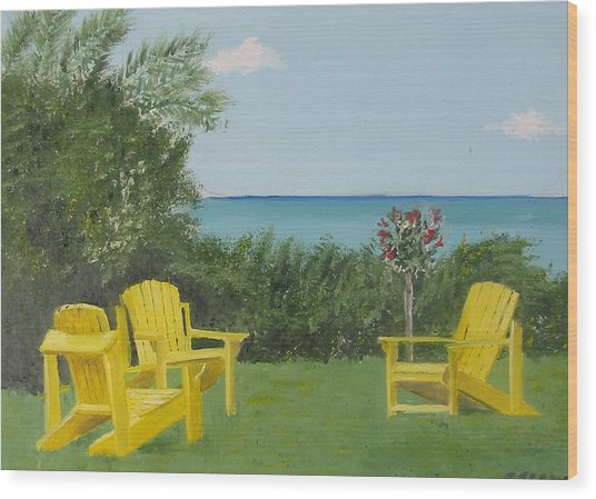 Yellow Chairs At Blue Mountain Beach Wood Print by John Terry