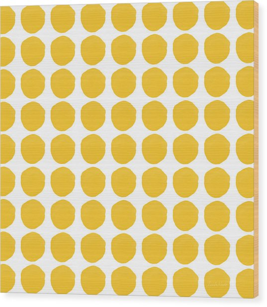 Yellow Circles- Art By Linda Woods Wood Print