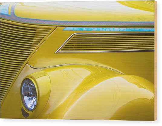 Yellow Classic Car Contours Wood Print