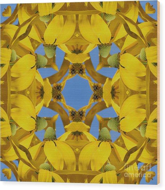 Yellow Coneflower Kaleidoscope Wood Print