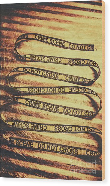 Yellow Crime Scene Ribbon On Metal Background Wood Print