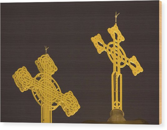Yellow Crosses Wood Print