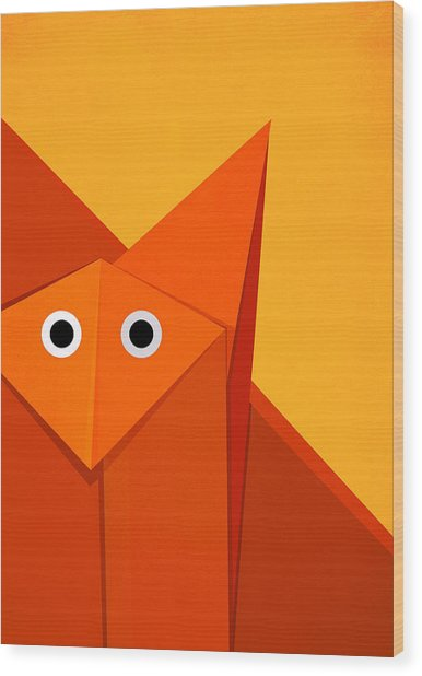Yellow Cute Origami Fox Wood Print