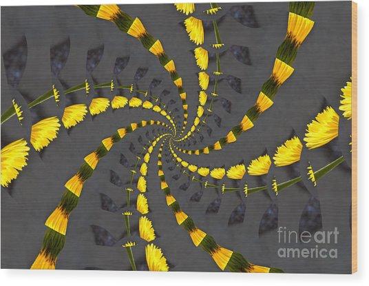 Yellow Daisy Spin Wheel  Wood Print