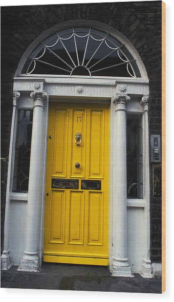 Yellow Door In Dublin Wood Print by Carl Purcell